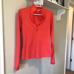 Coral colored Nike quarter zip